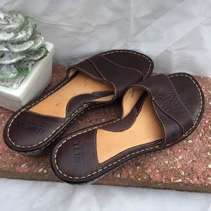 Born Brown Leather Slides. Size 8